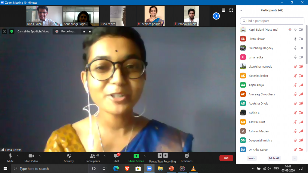 Ms. Ekata Biswas, the guest speaker for the occasion sharing her views