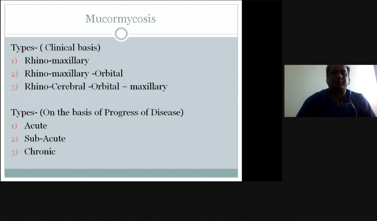 Dr. Vipin Dehane discussing about the types of mucormycosis